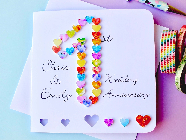 1st wedding anniversary card handmade personalised first