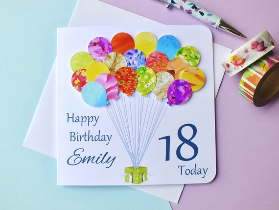 18th Birthday Card Personalised Age 18 Balloons