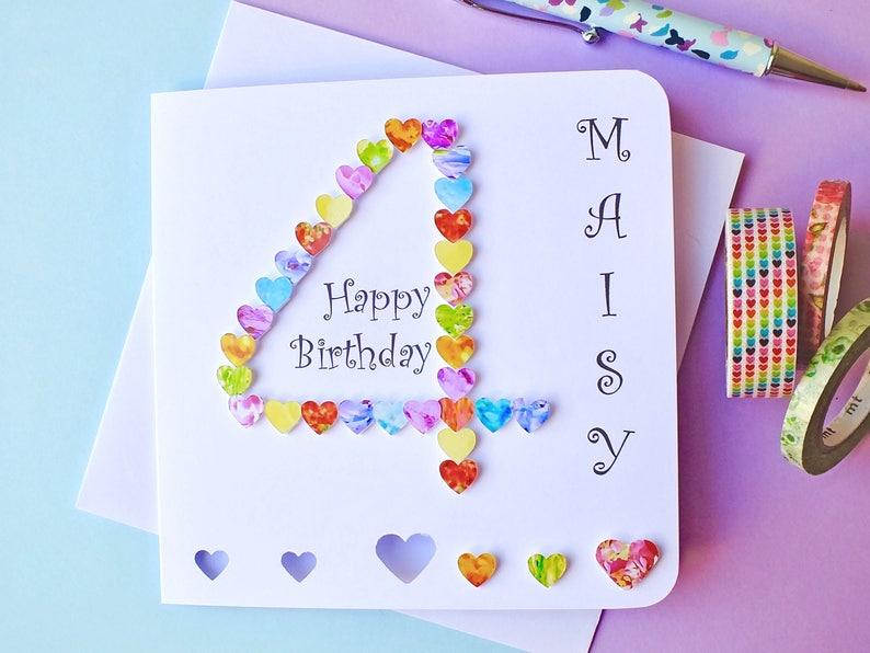 4th Birthday Card Custom Personalised Age 4 Colourful