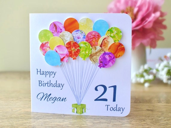 21st Birthday Card Personalised Age 21 Balloons