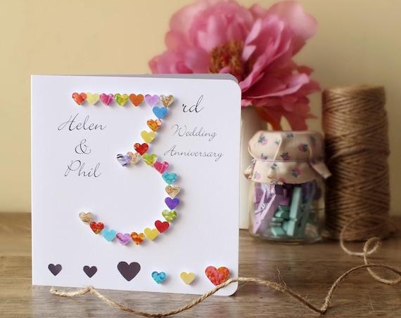 3rd wedding anniversary card handmade personalised 3rd etsy image 0 m4hsunfo