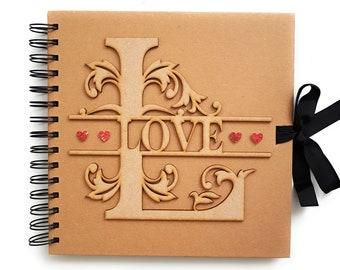 LOVE Rustic Scrapbook Album - Perfect Wedding or Anniversary Gift - Photo Scrap Book - Wooden Forever Memory Book