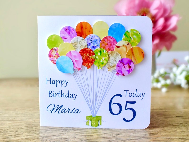 65th Birthday Card Personalised Age 65 Balloons