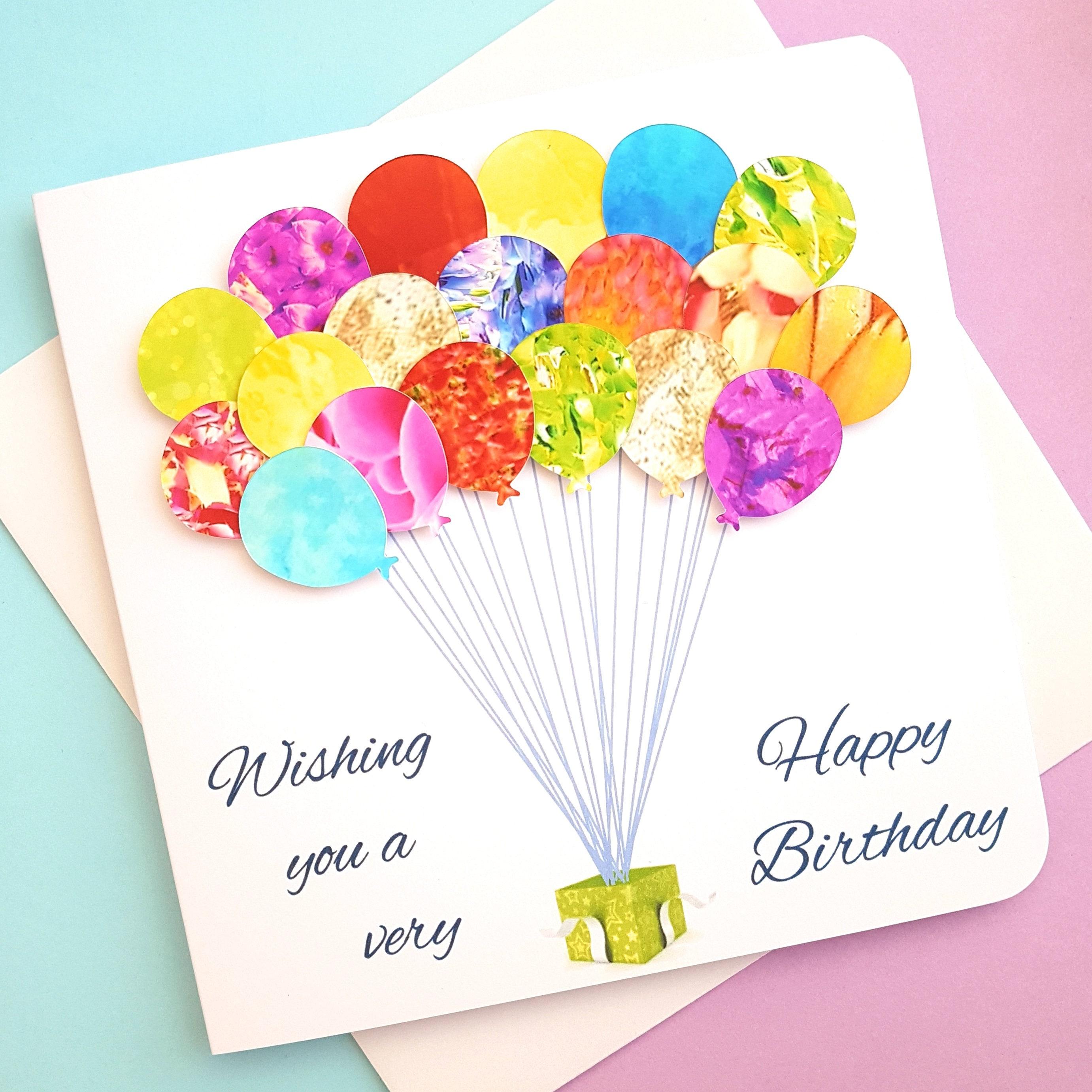 Handmade 3D Birthday Card Colourful Birthday Card Unique