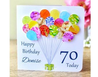 70th Birthday Card - Personalised Age 70 Birthday Balloons Card - Handmade Custom Personalised - Mum - Dad - Sister - Friend Colourful BHB70