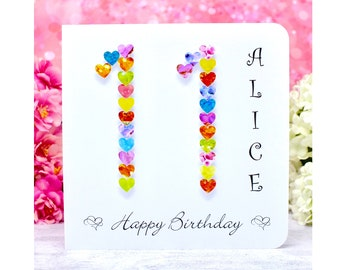 Handmade 11th Birthday Card - Personalised with Name - Colourful Age 11 Cards Including name, Customised for Girls or Boys