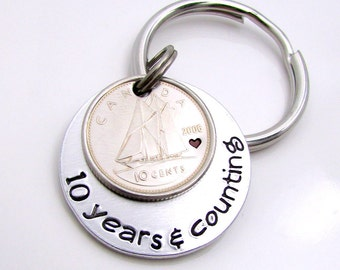 10 Year Anniversary Gift, Canadian Dime, 10 Year Gift , Personalized Keychain, 10 Years & Counting Keychain, Traditional Aluminum