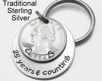 18ccec910b09b 25th Anniversary Traditional Sterling Silver Mens Personalized Keychain