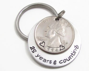 Mens Personalized Anniversary Gift Hand Stamped KeyChain 25 Years Counting 25th For Men
