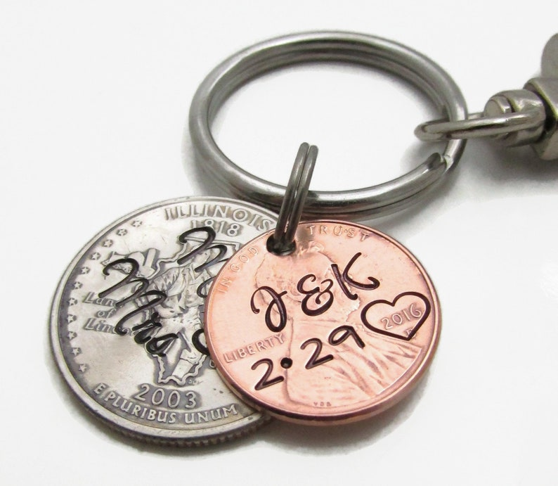 Custom Wedding Gift Hand Stamped Lucky Penny with State Quarter Keychain Set Mr /& Mrs Keychain set of 2 Personalized Couples KeyChain Set