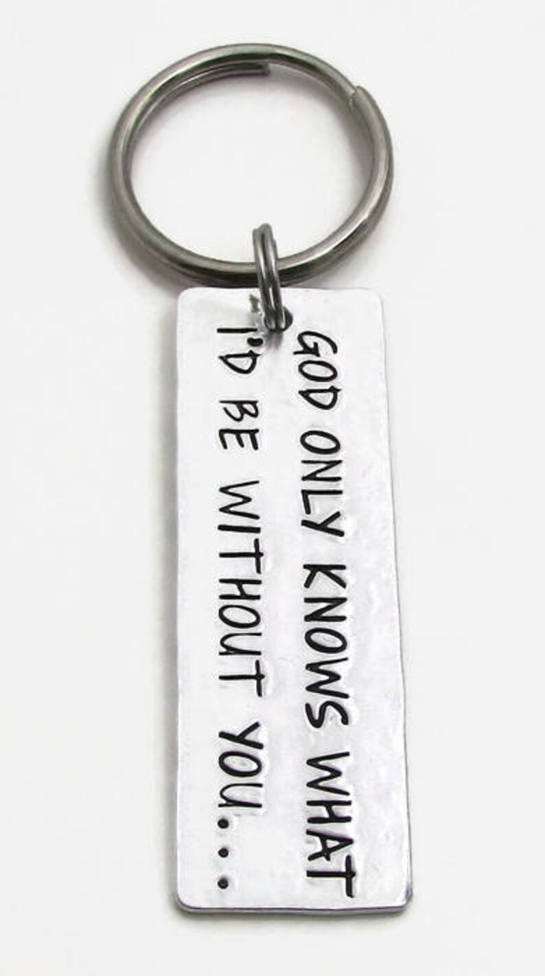 Personalized Saying Keychain Key Fob Hand Stamped Jewelry Wedding Anniversary Groom Gift Personalized KeyChain Hand Stamped Key Chain