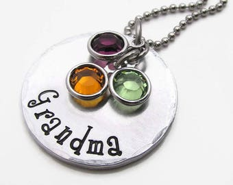 Grandma Necklace, Hand Stamped Necklace, Personalized Birthstone Necklace, Personalized Birthstone Jewelry, Grandmother Mom, Gift for her