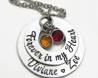 Forever in My Heart Necklace - Personalized Necklace - Hand Stamped Personalized Jewelry - Grandmother Necklace - Personalized Mom Necklace