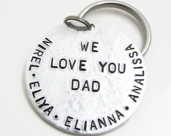 Mens Personalized Gift, Personalized Dad KeyChain, Personalized Keychain, Father's Day Gift for Dad, Hand Stamped Keychain, Dad Key Chain