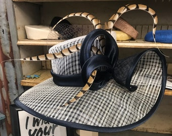 Lovely Navy And Ivory Lattice Sinamay And Satin Large Curled Brim Hat With Pheasant Feathers