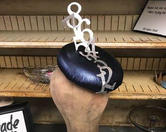 On Sale 1 2 3 Metallic Leather Cocktail Hat.  Metallic Leather, Pillbox Hat, Cocktail Hat, Ms Frizzle, Numbers, Racing Fashion, Ascot Hat