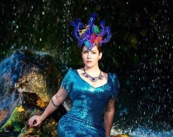 Under The Sea Little Mermaid Inspired Headpiece.  Ursula, Little Mermaid, Headpiece, Showgirl, Headdress, Mermaid, Seahorse, Mermaid Parade