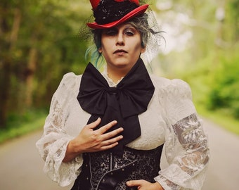 Ghastly Red MIDI Top Hat.  Edwardian, steampunk, gothic, top hat, red hat.