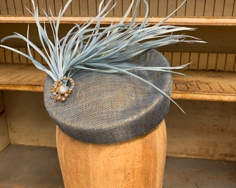 My Baby Blue Headpiece For The Races.  Baby Blue And Gold Lurex Sinamay Porkpie Cocktail Hat Pillbox For The Races Or Mother Of The Bride.