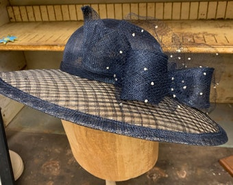 Bowed And Beautiful.  Navy Wide Brim Lattice Sinamay Hat With Bow And Dotted Veiling.  Kentucky Derby Hat, Church Hat, Mother Of The Bride