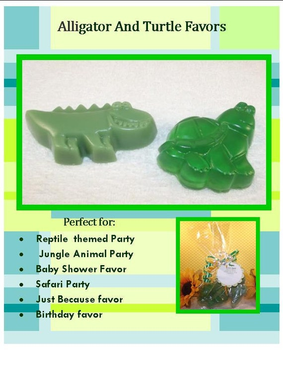 Alligator And Turtle Glycerin Soap Set Reptile Birthday Party Etsy