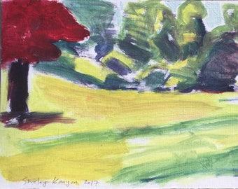ORIGINAL Öl-Farben auf festem Papier in den Garten, Sommer 2017 Landschaftsmalerei von Shirley Kanyon, 8x19.1 Zoll, 21.5x48.5 cm