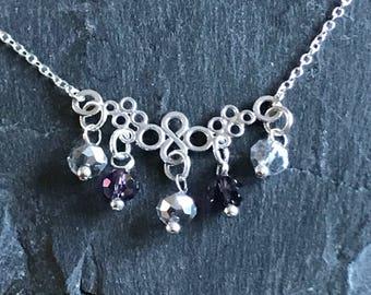 Bespoke sterling silver necklace with Swarovski elements
