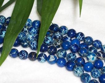 Blue Impression Jasper gemstone beads -8 mm round- half strand