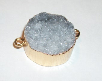 """Natural Gray Druzy Agate gemstone link connector pendant in gold electroplate frame-30 x 20 mm-(1"""" x  3/4"""") -3202"""
