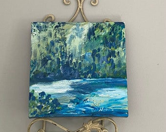 Wedding or Anniversary Gift Idea!  Original painting to hang on a plate rack or by itself.  Buy this one, or commission your own!