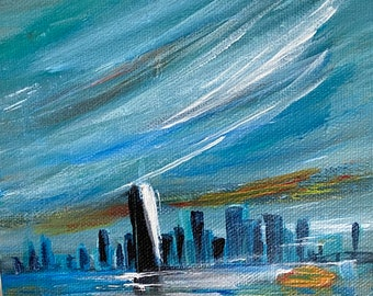 Staten Island Ferry view of NYC.  Original painting on canvas, ready to hang or prop in plate rack!  Perfect gift.