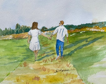 Commission painting in Watercolor from your Photo: Wedding Venue, Honeymoon, Engagement, Wedding Gift, Anniversary, Vacation, Grandkids
