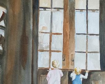 Original Watercolor Portrait.  Grandchildren.  Wedding.  Special Place.  Wedding Venue.  Family Vacation