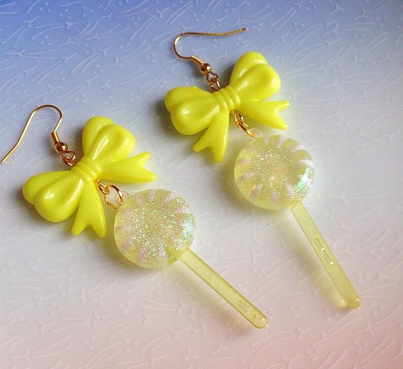 951543d18bb0a Kawaii Lollipop Earrings - Bright, Summer, Yellow, Sparkle, Cute,  Statement, Fairground