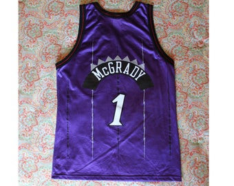 VintageTracy McGrady NBA Toronto Raptors Champion Jersey - Size 44 - Number 1 - Purple Black and Red - Excellent Condition