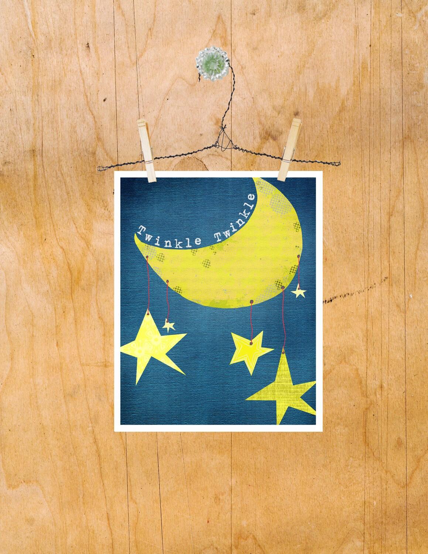Kids Wall Art Twinkle Twinkle Little Star Nursery Rhyme | Etsy