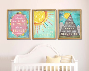 Sale 20% off Wall Art Baby Girl Nursery Print Let Her Sleep for when she Wakes she will Move Mountains You are my Sunshine She is Fierce