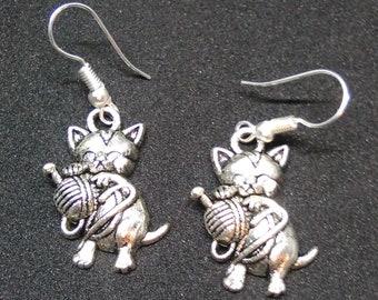 Cat with Yarn Earrings