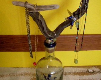 Jewelry Tree Stand – Glass and wood – Jewelry Tree - Up Cycled Tequila Bottle and Drift Wood,