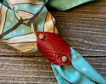 Red Leather bandana ring with Croc pattern, Western bandana bolo, Bandana slide, Bandana accessories, Scarf slide, Reclaimed leather goods