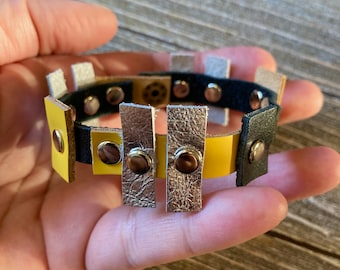Metallic Leather Cuff Bracelet, Modern Contemporary Leather Jewelry, Black Yellow and Silver leather cuff bracelet, Leather Accessories
