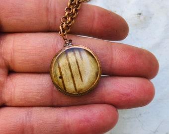 Copper Circle Birch Bark Statement Necklace