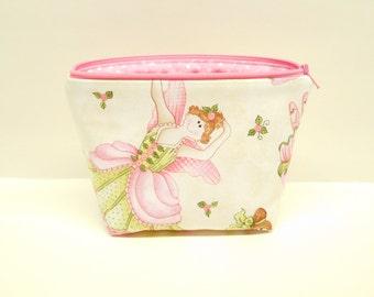 pink ballerina makeup bag pink zipper pouch pink ballerina cosmetics case zipper pouch small flat bottom makeup bag