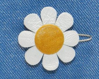Small Leather Daisy Hair Clip