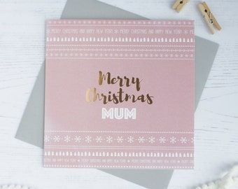 Merry Christmas Mum copper foil card
