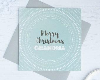 Merry Christmas Grandma silver foil card