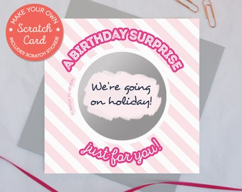 Birthday scratch card 'A birthday surprise just for you!' surprise gift card Birthday card Gift card Scratch and reveal card