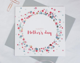 Mother's day card 'Happy Mother's Day'   Mothers day copper rose gold foil