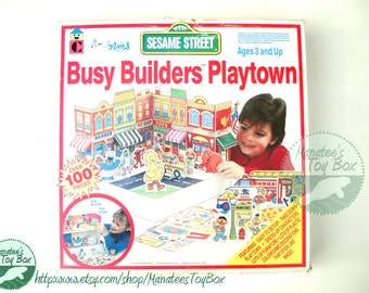 CLEARANCE Vintage Sesame Street Colorforms Play Set: Busy Builders Playtown