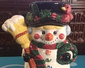 Snowman Cookie Jar Super Cute Little Girl Winter Season